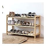 LOMJK Zapatera Rack de Zapatos de Pino Natural, Organizador de Almacenamiento, Rack de Plantas, estantería Organiza para 16 Pares de Zapatos (2/3/4 Nivel) Zapatero (tamaño : 3 teir)