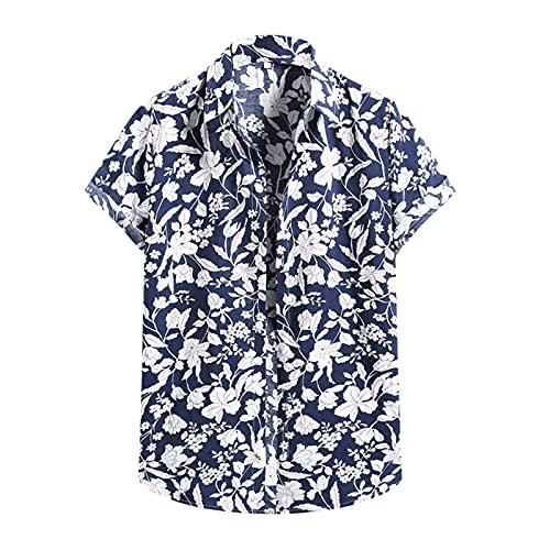 Camisa hawaiana para hombre, de verano, informal, con flores, manga corta, cuello en V, para el tiempo libre J_Marine XL
