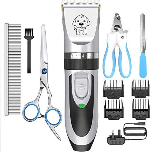 Dog Grooming Clipper Dog Clippers, Cordless Low Noise,Quiet Rechargeable Pet Hair Trimmer,Professional Dog Grooming Kit with Scissors Combs, Best Shaver for Dogs Cats Pets