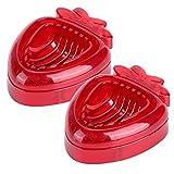 TANKE Mini rebanador de Fresas de 2 Piezas - Cortador de Fresas con Hoja de Acero Inoxidable - Herramienta para Cortar Frutas para la Cocina casera, Rojo