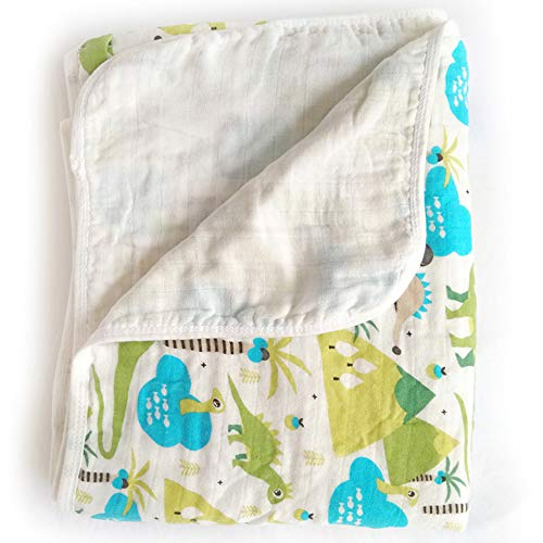 Miracle Baby Musselin Babydecke 150x110cm, Zwei Schichten Baumwolle Kuscheldecke, Einschlagdecke Kinderdecke für Kinderwagen Babyschale, Als Zudecke Tagesdecke Wickeldecke(Dinosaurier)