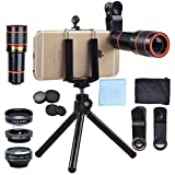 Cell Phone Camera Lens Kit, 4 in 1 12X Telescope Zoom Lens+ Fish Eye+ Wide Angle+ Macro Lens+ Tripod for iPhone X 8 7 6 Plus Samsung Android Smartphone
