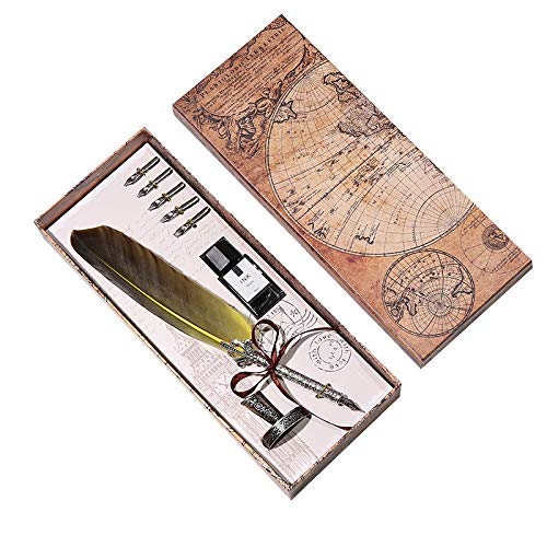 Pluma estilográfica de gama alta con plumas de pluma, juego de tinta de escritura, caja de regalo con 5 plumas, pluma estilográfica, regalo de boda LCMUS (color: gris oscuro, tamaño: gratis)