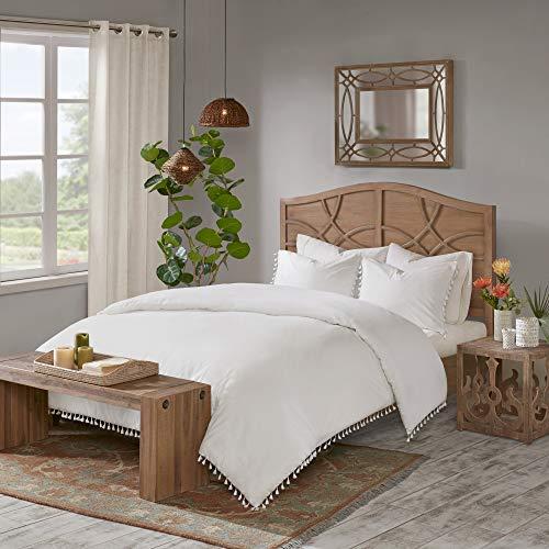 "Madison Park 100% Cotton Duvet Set, Modern Lifestyle Design All Season, Breathable Comforter Cover Bedding, Matching Shams, Full/Queen(90""x90""), Tassel Ivory"