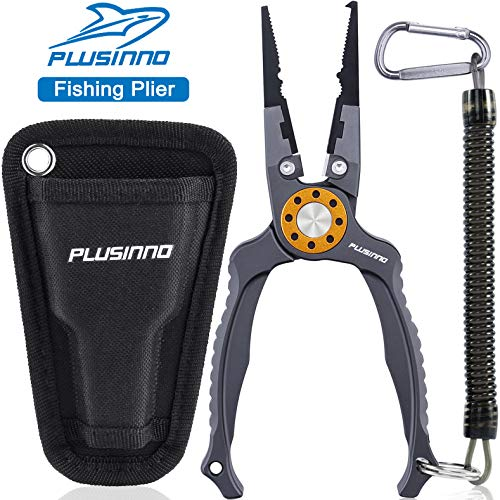 """PLUSINNO 8"""" Fishing Pliers, 6061 Stainless Steel Fishing Tools, Split Ring Pliers Hook Removers, Tungsten Carbide Cutters, Corrosion Resistant Teflon Coating, Saltwater Resistant Fishing Gear"""