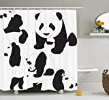 Zoológico deDibujode bebé Pandas Botellade Leche Mosca Adorables Figurasde Animales Niño de de mamífero de con Carbón Gris Blanco