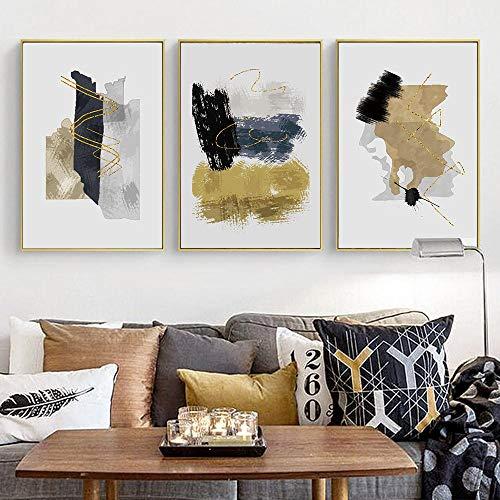 Impresión de pared Pintura abstracta dorada negra y gris Impresión en lienzo Pintura Carteles Cuadros decorativos de pared para sala de estar 40X60X3Pcs Sin marco