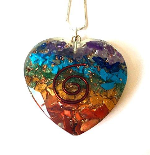 Colgante con forma de corazón de energía de reiki con cadena de plata