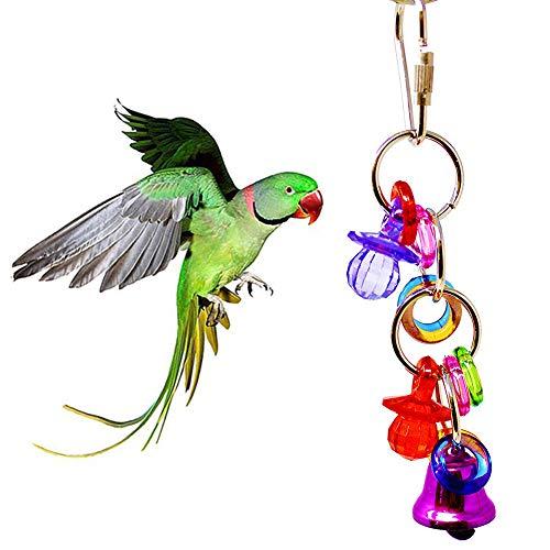 Danigrefinb Papegaai Speelgoed Huisdier Vogel Papegaai Ring Sleutelhanger Tepel Bell Hangende Kooi Decor Kauwspeelgoed, Kunststof & Metaal, 1#, Multi kleuren