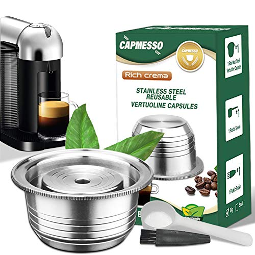 CAPMESSO Coffee Capsule, Reusable Vertuoline Pod Refillable Vertuo Capsules Stainless Steel Compatible with Nespresso Vertuoline GCA1 and Delonghi ENV135 (8oz-Coffee Cup(Big)