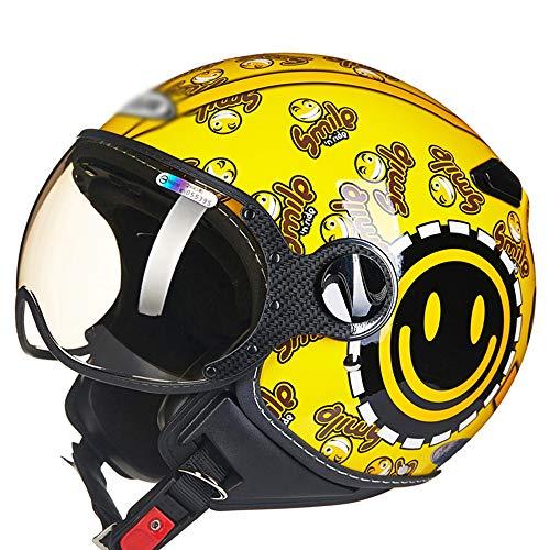 KIRA Casco anticolisión de Motocicleta eléctrica Medio Casco Retro Casco Moto Abierto...