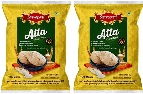 Sarvopari Chakki Fresh Atta 100% Atta and 0% Maida 10KG (5KG,Pack of 2)