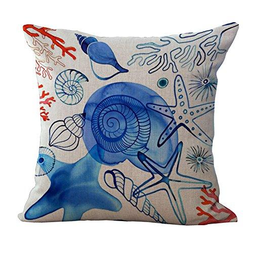 BST Protector de almohada de lino cuadrado de elementos de vida marina...