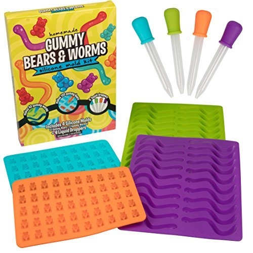 Gummy Bear and Worm Gummy Candy Molds, 4 Pack Set - XL Nonstick Trays with 2 Droppers for Chocolate, Ice Cubes and More - Makes 140 Candies - BPA-Free