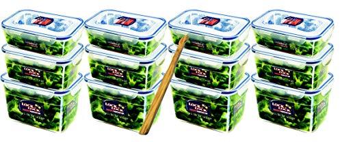 Lock&Lock Frischhaltedosen-Set 12-teilig gleiche Deckel (4X 1,2L-Box, 4X 1,8L-Box, 4X 2,4L-Box) stapelbar, leer ineinander schachtelbar und SeleXions Multifunktion Olivenholz Spachtel