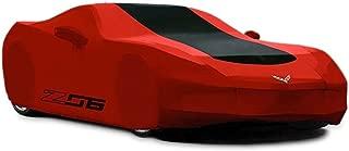 Corvette Car Cover - Z06 & Flags Logo - Outdoor - Red w/Black Stripe : C7 Z06