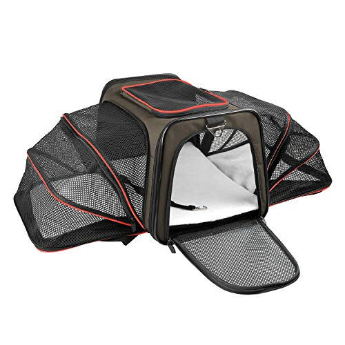 X-ZONE PET Expandable Travel Dog Carrier with Fleece Mat, Most Airline Approved Pet Carrier for Easy Carry on Luggage, Soft Sided Flodable Cat Carrier with Zip Pockets to Store Goods