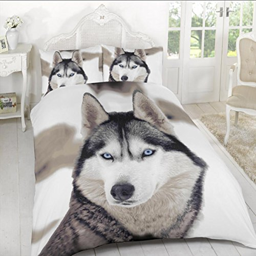 ARLINENS New 3D Effect Animal Printed duvet cover Bedding set with Pillocases in following Designs and Sizes: (Wolf, KING)
