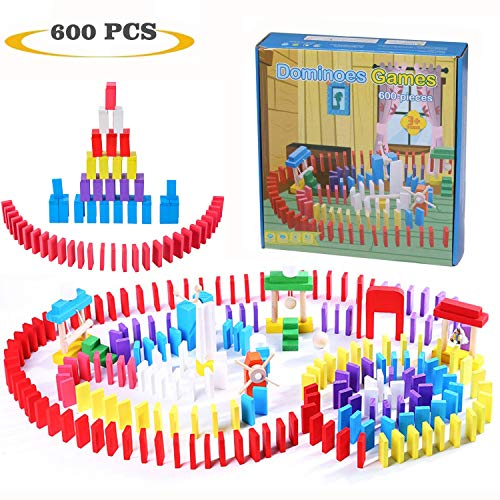 Joqutoys 600 PCS Wooden Dominoes Set for Kids, Building Blocks Racing Tile Games, Educational Toy for Kids for Boys Girls Gifts