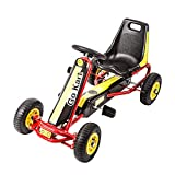Kids Racing Pedal Car Go Cart Powered Racer Outdoor Toy Boys & Girls Ride On Toy with Ergonomic Adjustable Seat Yellow