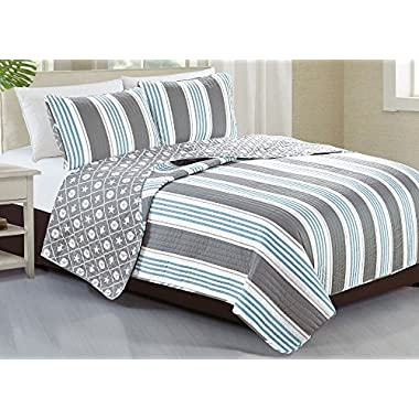 Home Fashion Designs 3-Piece Coastal Beach Theme Quilt Set with Shams. Soft All-Season Luxury Microfiber Reversible Bedspread and Coverlet. St. Croix Collection By Brand. (Full/Queen)