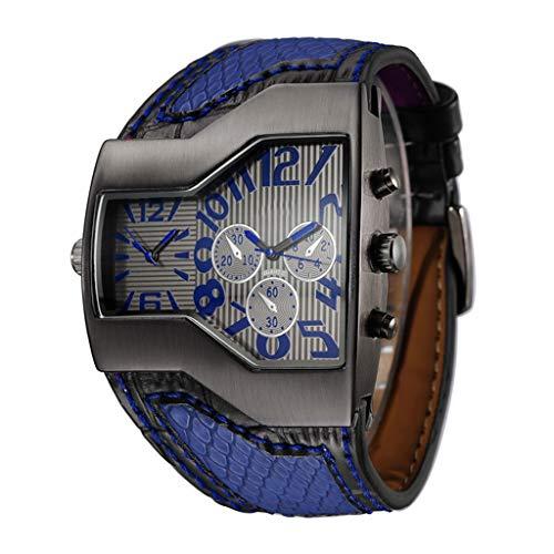 Gnaixyc Reloj De Pulsera Militar Hombre, Reloj Deportivo con Esfera Dual Movt Piel Banda, Reloj De Pulsera De Cuarzo Analógico,B