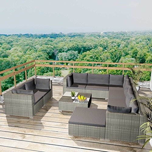 Namotu vidaXL 10-TLG. Conjunto de salón de jardín con Cojines de polirratán Gris.