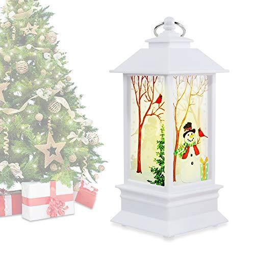 Manfore - Farol de Navidad LED con diseño de muñeco de nieve para colgar en la pared, con pilas, decoración de Navidad, regalo para interior, exterior, color blanco