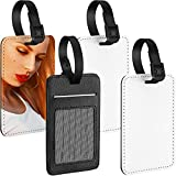 4 Pieces Sublimation Luggage Tags PU Leather Name Tag Blank Suitcase Tags Heat Transfer Bag Tags Business ID Card Holder Travel ID Tags for DIY Travel Suitcase Sports Bags Holder, Rectangle