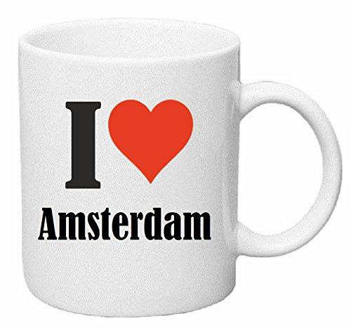 taza para café I Love Amsterdam Cerámica Altura 9.5 cm diámetro de 8 cm de Blanco