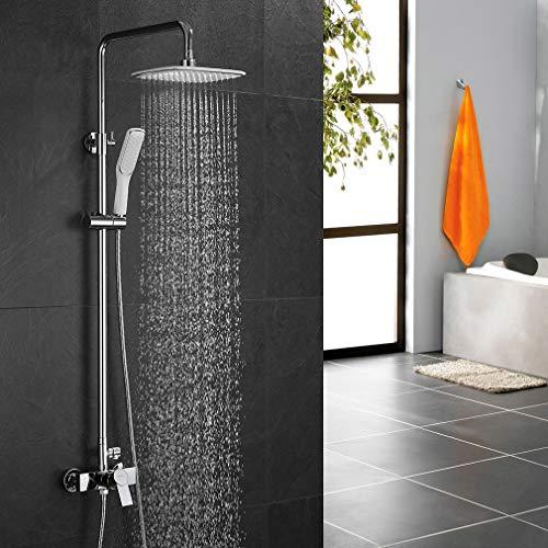 ubeegol Duscharmatur Regendusche Duscheset Eckig Duschsystem Weiß Duschgarnitur Mischbatterie Duschstange Duschkopf Überkopfbrause