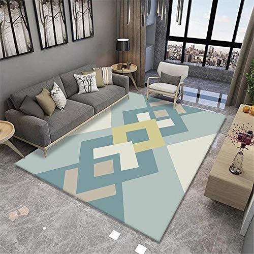 alfombras habitacion Las alfombras rectangulares Azules se utilizan en Las Salas de Estar Modernas para Resistir el Deslizamiento y el Desgaste. habitacion Bebe Alfombra Salon Lavable 50X80CM 1ft