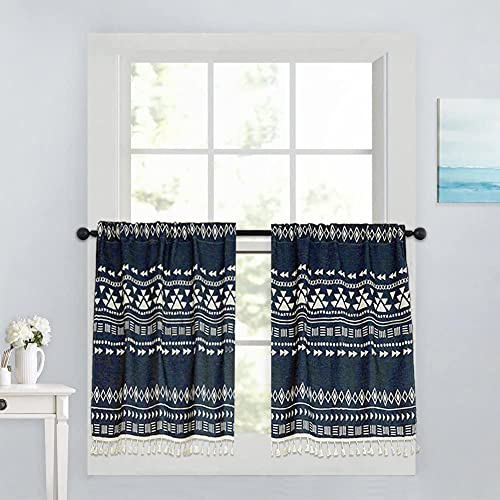 """Xiongfeng Kitchen Cafe Curtain Short for Small Window Blackout Boho Geometric Navy Blue Drapes Cotton and Linen with Tassel for Bathroom Cabinet, 1 Panel 26"""" × 17"""""""
