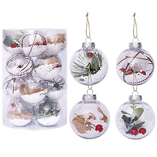 Hileyu 16 Pezzi di Palline di Natale Trasparenti,60 mm Palline per Albero di Natale Palline di Natale infrangibili Palle da Natalizie Albero Decorazioni per la casa della Festa Nuziale