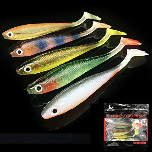 OriGlam 5 señuelos de pesca con cabeza de plomo, señuelos de pesca blandos, cebo suave para agua salada y agua dulce