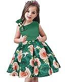 AGQT Robe de soirée élégante avec nœud floral pour fille - Vert - 7-8 ans