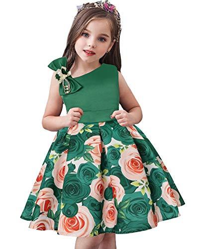 AGQT Mädchen Partykleid Elegante Blumenbogen Abend Abendkleider Prinzessin Flower Girl Brautkleid für Kinder Grün 2-3 Years