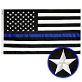 Thin Blue Line Flag 3x5 Ft - Embroidered Stars, Sewn Stripes and Long Lasting Nylon, American Police 3x5 flags blue line with black and white, Honoring Law Enforcement Officers