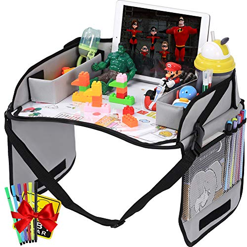 Innokids Kids Travel Lap Tray Children Car Seat Activity Snack and Play Tray Desk with Erasable Surface, iPad & Tablet Holder, Detachable Organizers for Cars, Planes & Baby Stroller (Gray)