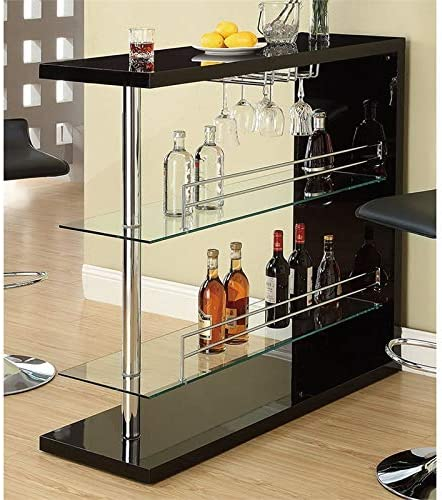 BOWERY HILL 2 Shelf Pub Table with Wine Storage in Glossy Black product image