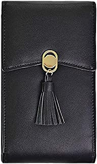 TOOGOO Women Phone Shoulder Bag PU Leather Money Wallet Chain Mobile Long Phone Bags Messenger Bag Black
