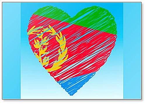 Eritrea Flagge, Herzform, Grunge Style Kühlschrankmagnet