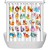 ArtBones Animal Alphabet Shower Curtain Kids Educational Bathroom Shower Curtain Cute Animal Polyester Fabric with Hooks 72x72 inches