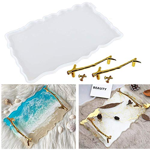 Silicone Resin Tray Molds,Include 1Pc Tray Mold & 2pcs Golden Branches Handles,Epoxy Resin Casting Molds for Making Faux Agate Tray,Serving Board