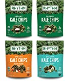 Rhythm Superfoods Kale Chips, Variety Pack, Original/Zesty Nacho/Kool Ranch, Organic and Non-GMO, 2 Ounce (Pack of 4), Vegan/Gluten-Free Superfood Snacks, Packaging May Vary