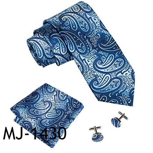 LUHELDM Estilos Conjunto de Corbata con Mancuernas de Seda de los Hombres Azules para el Banquete de Bodas Masculino Empate de Negocios Corbata de BolsilloMJ-1430