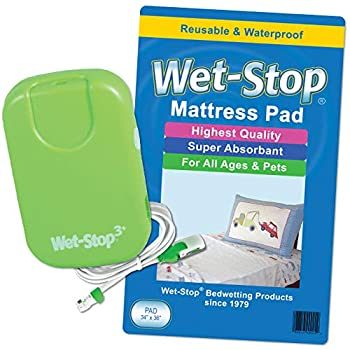Wet-Stop3 Kit  Bedwetting Enuresis Alarm with Waterproof Bed Pad for Boys and Girls Curing Bedwetting for Over 35 Years  Green  by Wet-Stop