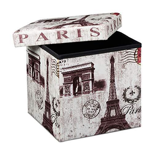 Relaxdays Faltbarer Sitzhocker 38 cm stabiler Sitzwürfel mit trendigen Motiven als praktische Fußablage als Sitzwürfel mit bedrucktem Kunstleder als Aufbewahrungsbox mit Stauraum und Deckel, Paris