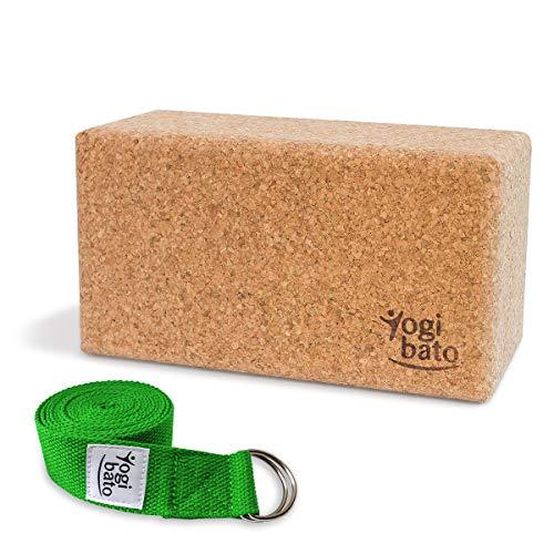 Yogibato Yoga Set – Yogablock Kork & Yogagurt – Natur Korkblock für Pilates Fitness – Cork Brick & Yoga Strap – Yogaset Block & Gurt – Grün