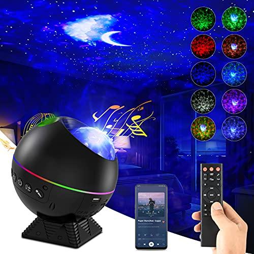 Sternenhimmel Projektor, LED Sternenlicht Projektor mit Farbwechsel MusikPlayer & Bluetooth &Timer, Galaxy/Wasserwellen/Mond Sternenhimmel für Kinder Erwachsene Home Decoration
